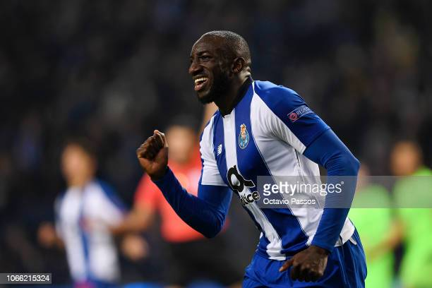 Moussa Marega of FC Porto celebrates after he scores his sides third goal during the UEFA Champions League Group D match between FC Porto and FC...