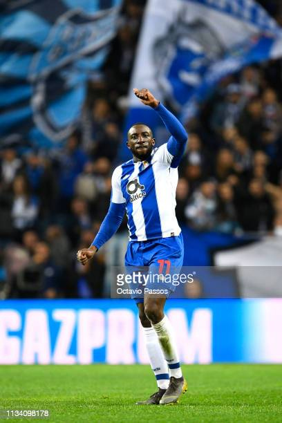 Moussa Marega of FC Porto celebrates after scoring his sides second goal during the UEFA Champions League Round of 16 Second Leg match between FC...