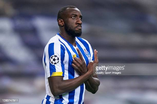 Moussa Marega of FC Porto celebrates after scoring his team's first goal during the UEFA Champions League Group C stage match between FC Porto and...