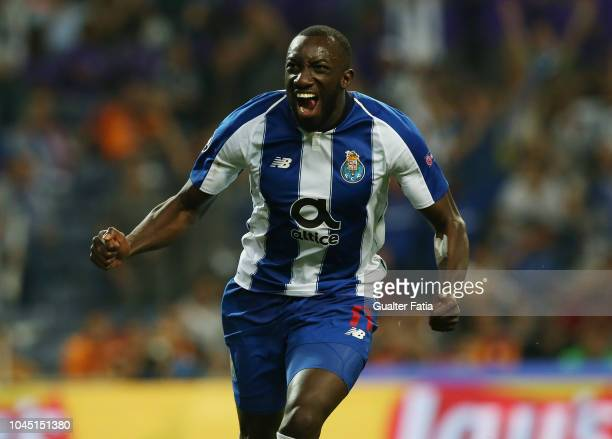 Moussa Marega of FC Porto celebrates after scoring the opening goal during the UEFA Champions League Group D match between FC Porto and Galatasaray...