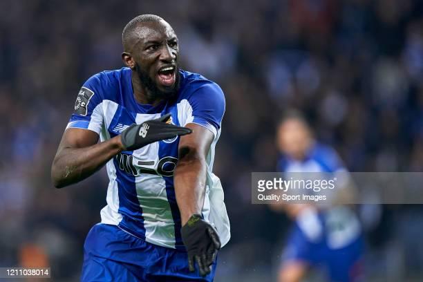 Moussa Marega of FC Porto celebrates his team's second goal before VAR decision to cancel the goal during the Liga Nos match between FC Porto and Rio...