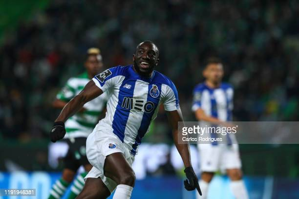 Moussa Marega of FC Porto celebrates scoring his team first goal during the round 15 of Liga Nos match between Sporting CP and FC Porto at Estadio...