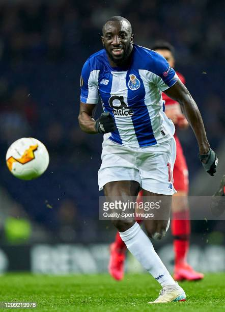 Moussa Marega of FC Porto in action during the UEFA Europa League round of 32 second leg match between FC Porto and Bayer 04 Leverkusen at Estadio do...