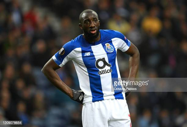 Moussa Marega of FC Porto reacts during the UEFA Europa League round of 32 second leg match between FC Porto and Bayer 04 Leverkusen at Estadio do...