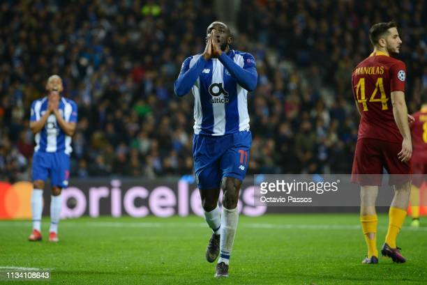 Moussa Marega of FC Porto reacts to a missed chance during the UEFA Champions League Round of 16 Second Leg match between FC Porto and AS Roma at...