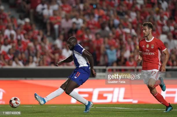Moussa Marega of FC Porto scores a goal during the Liga NOS match between SL Benfica and FC Porto at Estadio da Luz on August 24, 2019 in Lisbon,...