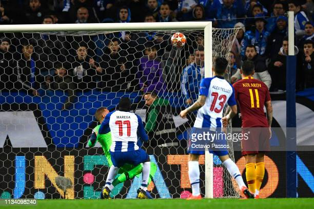 Moussa Marega of FC Porto scores his sides second goal during the UEFA Champions League Round of 16 Second Leg match between FC Porto and AS Roma at...