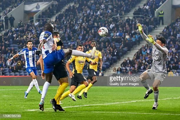 Moussa Marega of FC Porto shots on goal during the Liga Nos match between FC Porto and Portimonense SC at Estadio do Dragao on February 23 2020 in...