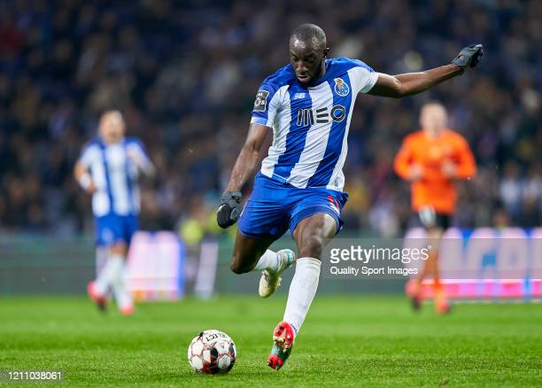 Moussa Marega of FC Porto shots on goal during the Liga Nos match between FC Porto and Rio Ave FC at Estadio do Dragao on March 07 2020 in Porto...