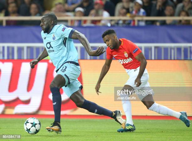 Moussa Marega of FC Porto Thomas Lemar of Monaco during the UEFA Champions League group G match between AS Monaco and FC Porto at Stade Louis II on...