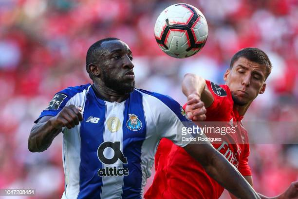 Moussa Marega of FC Porto vies with Ruben Dias of SL Benfica for the ball possession during the Liga NOS round 7 match between SL Benfica and FC...