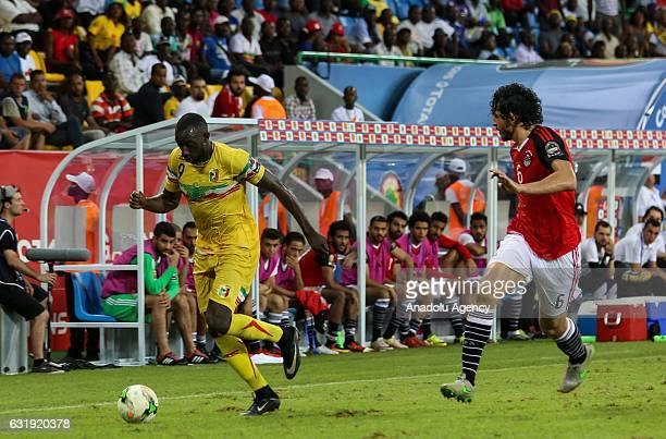 Moussa Marega of Mali in action against Ahmed Hegazy of Egypt during the 2017 Africa Cup of Nations group D football match between Mali and Egypt in...