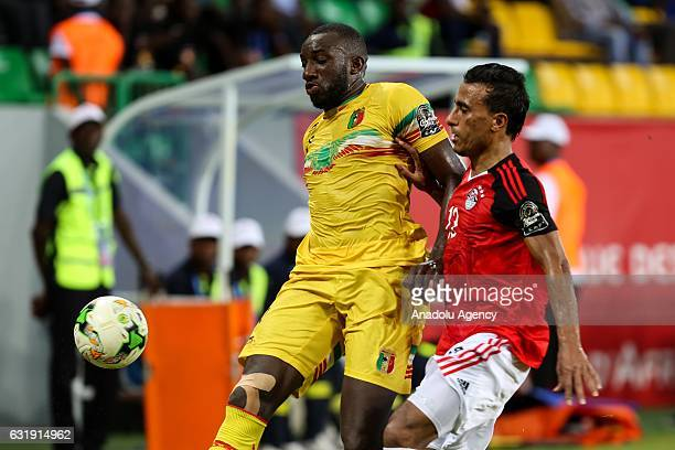 Moussa Marega of Mali in action against Mohamed AbdelShafy of Egypt during the 2017 Africa Cup of Nations group D football match between Mali and...
