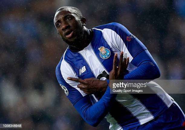 Moussa Marega of Porto celebrates after scoring his sides second goal during the Group D match of the UEFA Champions League between FC Porto and FC...