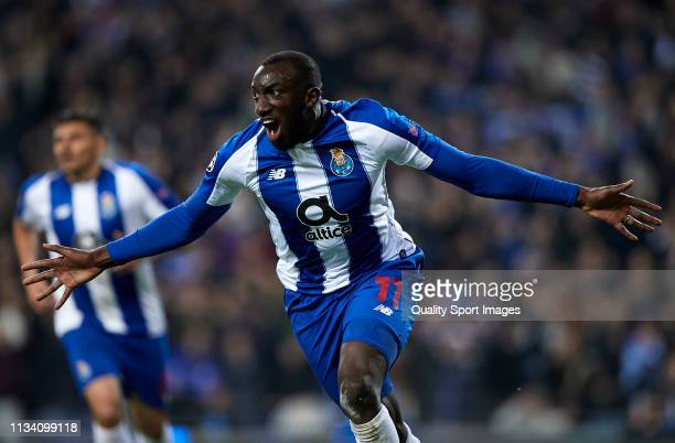 Moussa Marega of Porto celebrates after scoring his team's second goal during the UEFA Champions League Round of 16 Second Leg match between FC Porto...