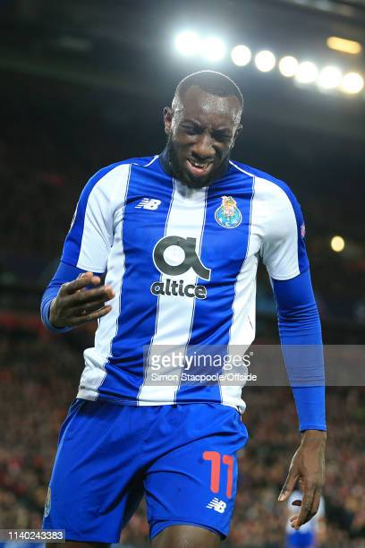 Moussa Marega of Porto looks dejected during the UEFA Champions League Quarter Final first leg match between Liverpool and Porto at Anfield on April...