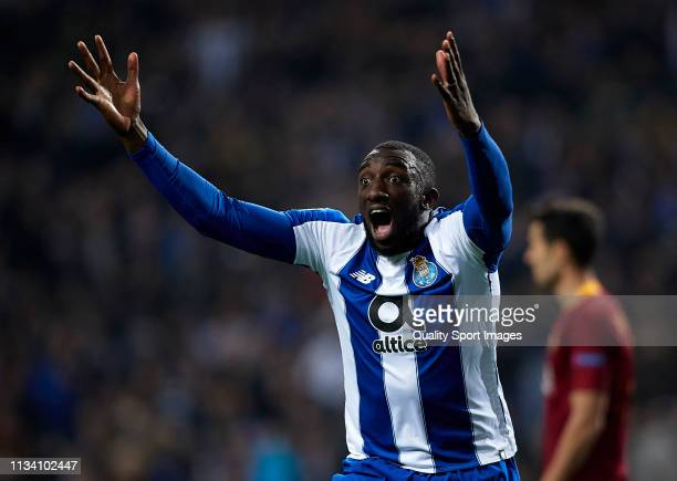 Moussa Marega of Porto reacts during the UEFA Champions League Round of 16 Second Leg match between FC Porto and AS Roma at Estadio do Dragao on...
