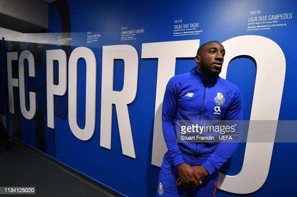 Moussa Marega of Porto waits in the players tunnel after the UEFA Champions League Round of 16 Second Leg match between FC Porto and AS Roma at...