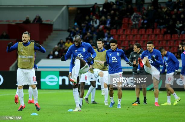Moussa Marega of Porto warms up prior to the UEFA Europa League round of 32 first leg match between Bayer 04 Leverkusen and FC Porto at BayArena on...