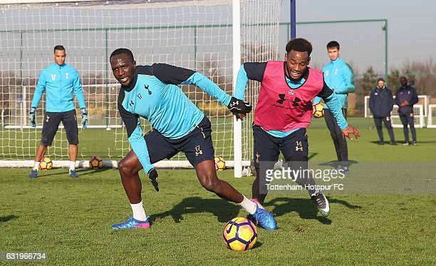Moussa Sissoko and Georges-Kévin N'Koudou of Tottenham during the Tottenham Hotspur training session at Tottenham Hotspur Training Centre on January...