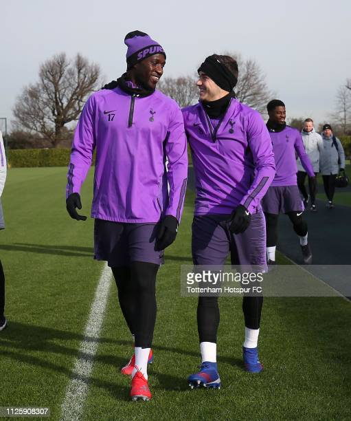 Moussa Sissoko and Harry Winks of Tottenham Hotspur during the Tottenham Hotspur training session at Tottenham Hotspur Training Centre on January 29...