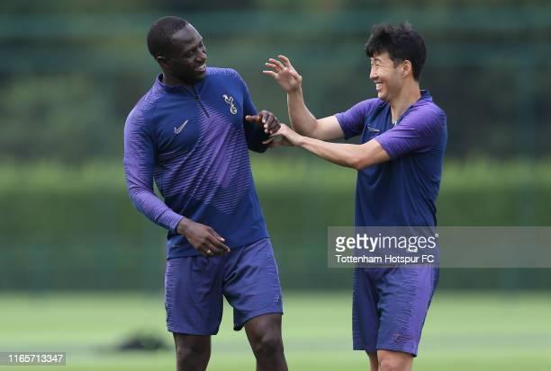 Moussa Sissoko and Heung-Min Son of Tottenham Hotspur during the Tottenham Hotspur training session at Tottenham Hotspur Training Centre on August...