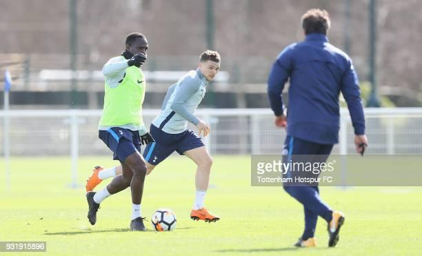 Moussa Sissoko and Kieran Trippier of Tottenham Hotspur during the Tottenham Hotspur training session at Tottenham Hotspur Training Centre on March...