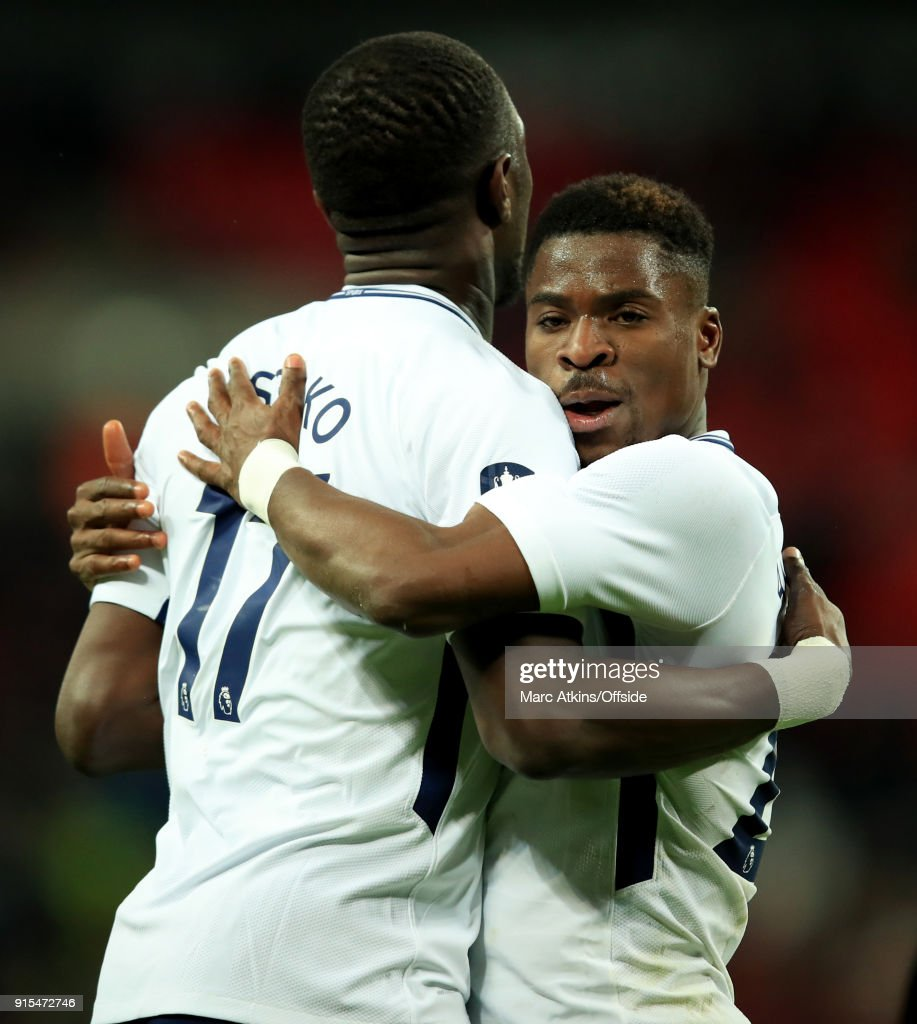 Moussa Sissoko and Serge Aurier of Tottenham Hotspur celebrate after the opening goal during the FA Cup Fourth Round replay between Tottenham Hotspur and Newport County at Wembley Stadium on February 7, 2018 in London, England.