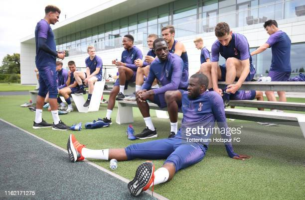 Moussa Sissoko and Tanguy Ndombele of Tottenham Hotspur during the Tottenham Hotspur training session at Tottenham Hotspur Training Centre on July...
