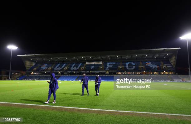Moussa Sissoko and Tanguy Ndombele of Tottenham Hotspur inspect the pitch prior to The Emirates FA Cup Fourth Round match between Wycombe Wanderers...