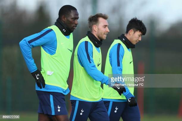 Moussa Sissoko Christian Eriksen and HeungMin Son of Tottenham Hotspur during the Tottenham Hotspur training session at Tottenham Hospur Training...