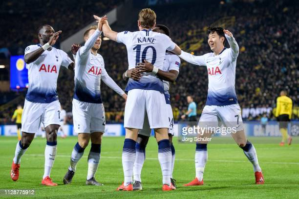 Moussa Sissoko Christian Eriksen Harry Kane and Heungmin Son celebrating after Totenham's 01 lead during the UEFA Champions League Round of 16 Second...