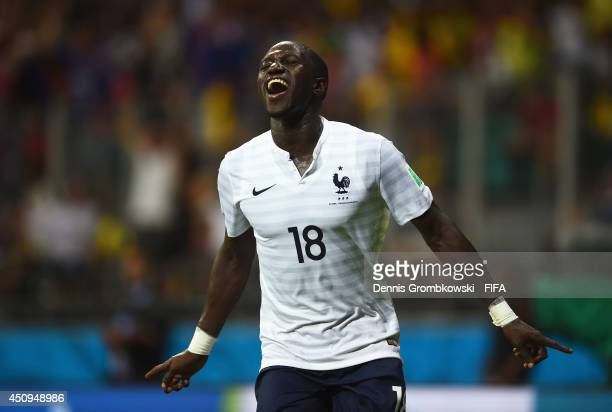 Moussa Sissoko of France celebrates scoring his team's fifth goal during the 2014 FIFA World Cup Brazil Group E match between Switzerland and France...