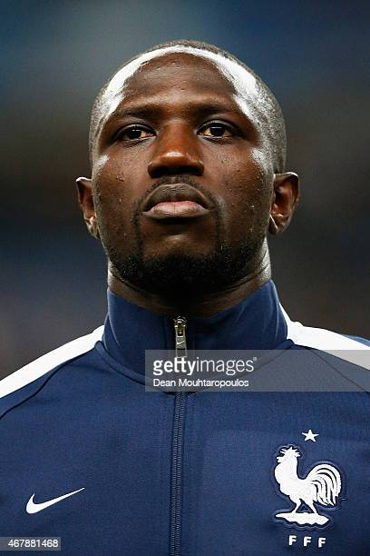 Moussa Sissoko of France stands for the national anthem prior to the International Friendly match between France and Brazil at the Stade de France on...