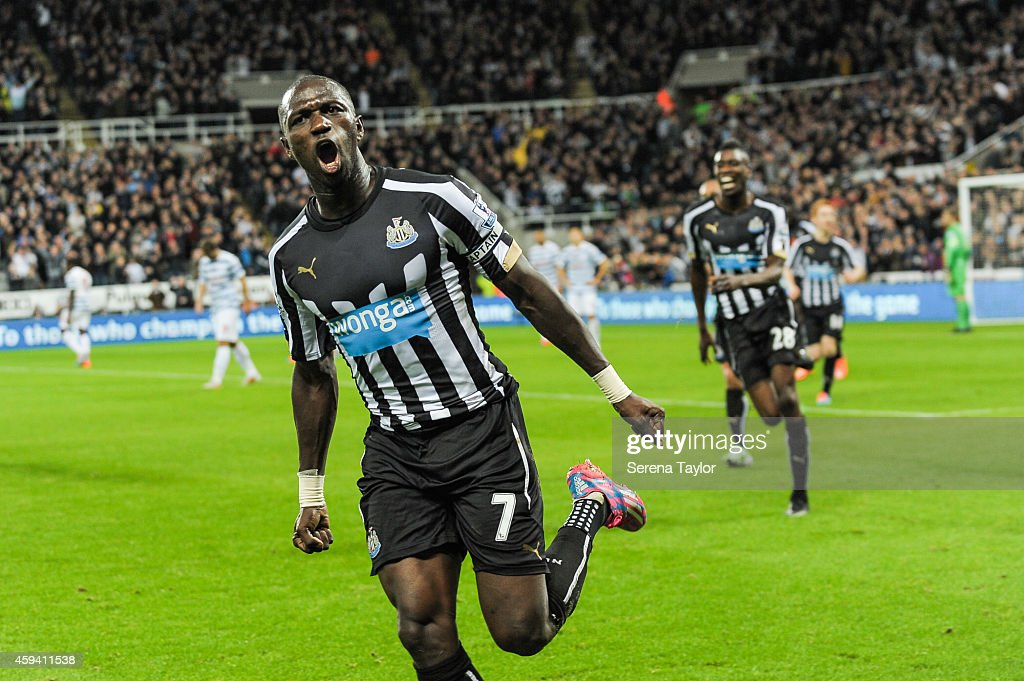 Moussa Sissoko #7 of Newcastle United celebrates after scoring the opening goal during the Barclays Premier League match between Newcastle United and Queens Park Rangers at St.James' Park on November 22, 2014, in Newcastle upon Tyne, England.