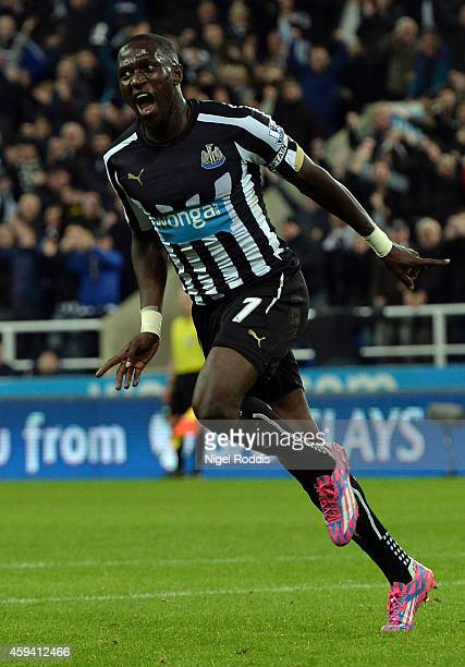 Moussa Sissoko of Newcastle United celebrates scoring during the Barclays Premier League football match between Newcastle United and Queeens Park...