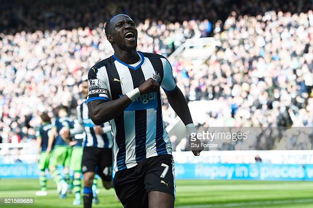Moussa Sissoko of Newcastle United celebrates scoring his sides second goal during the Barclays Premier League match between Newcastle United and...