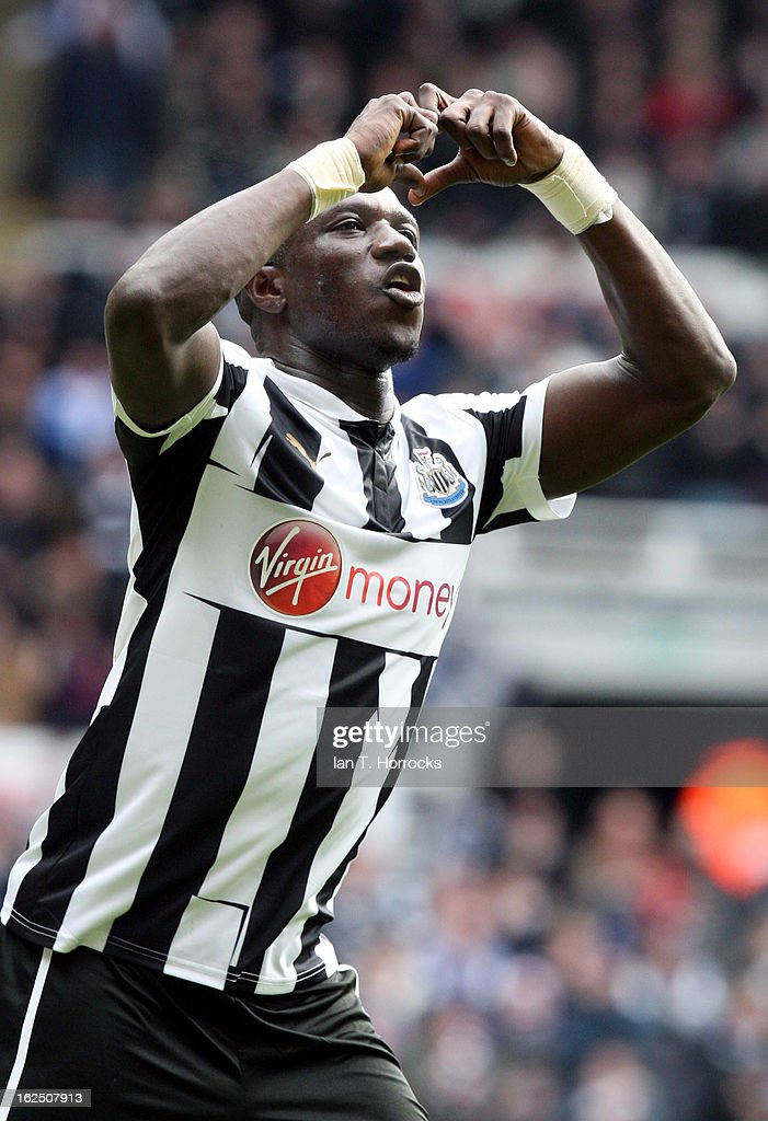 Moussa Sissoko of Newcastle United celebrates scoring the first Newcastle goal during the Barclays Premier League match between Newcastle United and Southampton at St James' Park on February 24, 2013 in Newcastle upon Tyne, England.