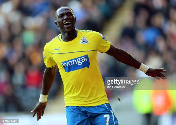 Moussa Sissoko of Newcastle United celebrates scoring the third goal for Newcastle United during the Barclays Premier League match between Hull City...