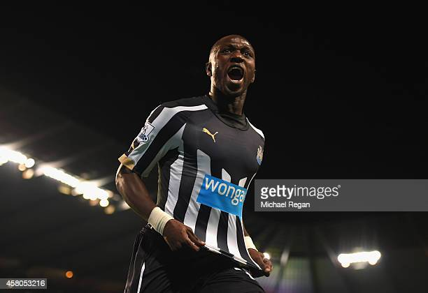 Moussa Sissoko of Newcastle United celebrates scoring their second goal during the Capital One Cup Fourth Round match between Manchester City and...