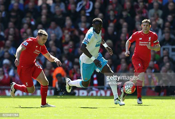 Moussa Sissoko of Newcastle United chases the ball during the Barclays Premier League match between Liverpool and Newcastle United at Anfield on...