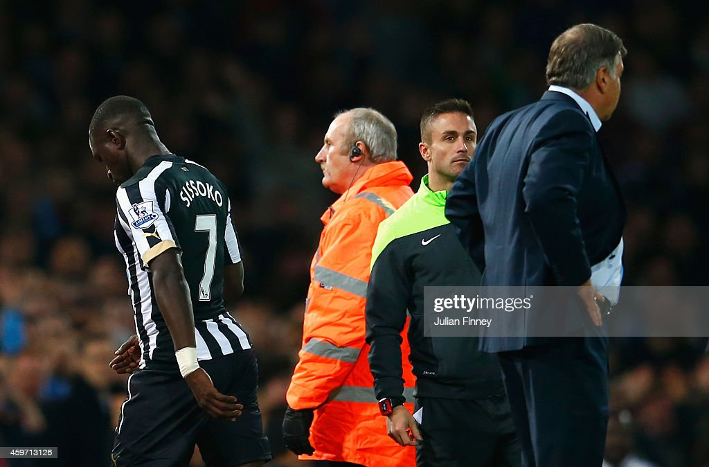 Moussa Sissoko of Newcastle United (R) heads down the tunnel after being sent off during the Barclays Premier League match between West Ham United and Newcastle United at Boleyn Ground on November 29, 2014 in London, England.