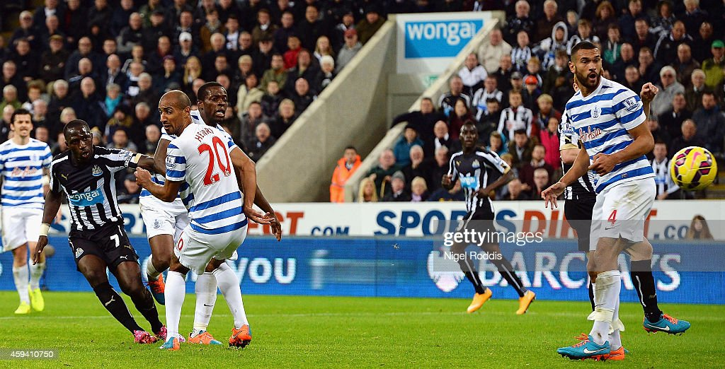 Moussa Sissoko of Newcastle United scores the opening goal during the Barclays Premier League match between Newcastle United and Queens Park Rangers at St James' Park on November 22, 2014 in Newcastle upon Tyne, England.