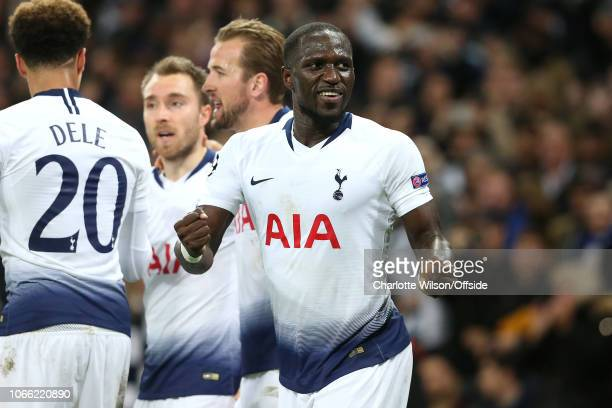 Moussa Sissoko of Tottenham celebrates their goal during the Group B match of the UEFA Champions League between Tottenham Hotspur and FC...