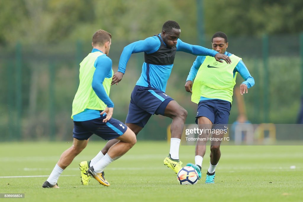 Moussa Sissoko of Tottenham during a Tottenham Hotspur training session at Tottenham Hotspur Training Centre on August 22, 2017 in Enfield, England.