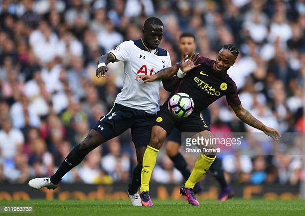 Moussa Sissoko of Tottenham Hotspur and Raheem Sterling of Manchester City battle for possession during the Premier League match between Tottenham...