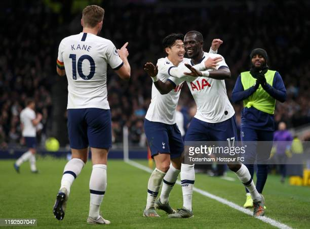 Moussa Sissoko of Tottenham Hotspur celebrates after scoring his team's fifth goal with HeungMin Son and Harry Kane during the Premier League match...