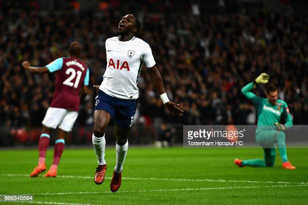 Moussa Sissoko of Tottenham Hotspur celebrates scoring his side's first goal during the Carabao Cup Fourth Round match between Tottenham Hotspur and...
