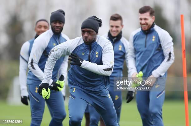 Moussa Sissoko of Tottenham Hotspur during the Tottenham Hotspur training session at Tottenham Hotspur Training Centre ahead of the UEFA Europa...