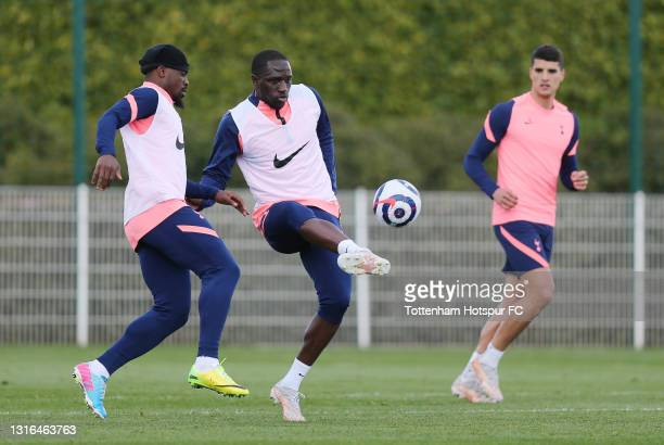 Moussa Sissoko of Tottenham Hotspur during the Tottenham Hotspur training session at Tottenham Hotspur Training Centre on May 05, 2021 in Enfield,...